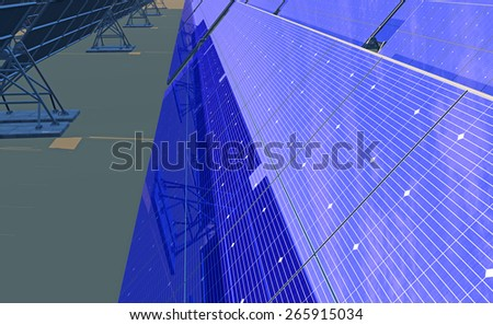 High Quality 3D render of photovoltaic panels tracking the sun in the desert. Partially overcast bright blue reflected sky. - stock photo
