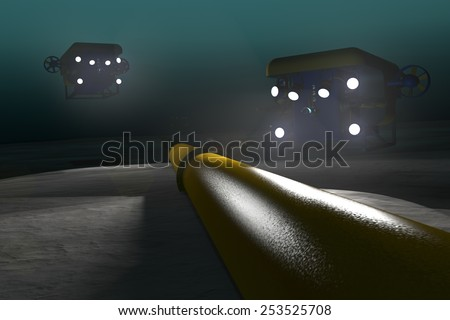 High quality 3D render of two ROV submersibles inspecting a sub-sea pipeline deep underwater. Fictitious ROV is a unique design, created and modeled entirely by myself. Murky water to emphasize depth. - stock photo