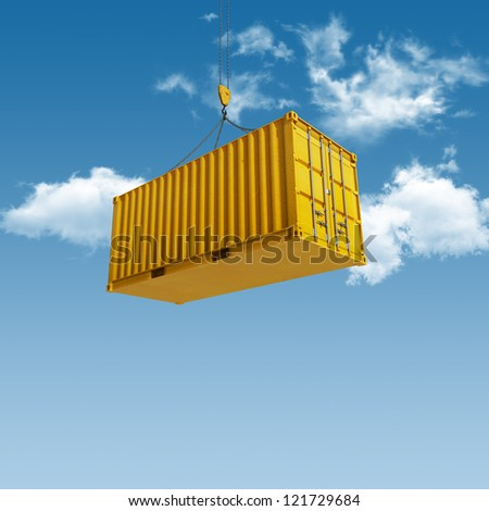 High quality 3D render shipping container during transport - stock photo