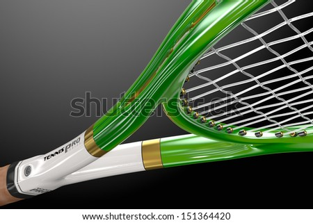 High quality 3D tennis racket detail with amazing camera view in studio light environment on a gradient background - stock photo