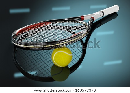 High quality 3D tennis racket with ball in a dark reflective environment as clean style background for any kind of tennis sports projects. - stock photo