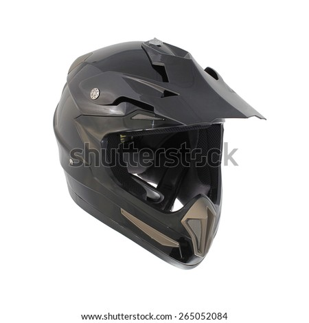 High quality Dark gray motocross motorcycle helmet Isolated on white background - stock photo