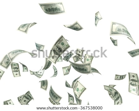 High quality digitally generated hundred us dollar bills are falling against white background with clipping path.