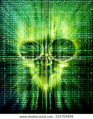 high quality hacker attack green digital illustration with skull - stock photo