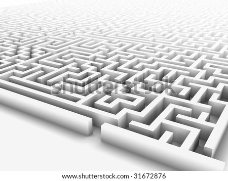 High quality illustration of a large maze or labyrinth. - stock photo