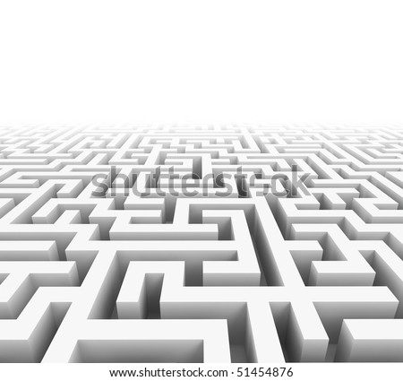 High quality illustration of a large maze or labyrinth - stock photo
