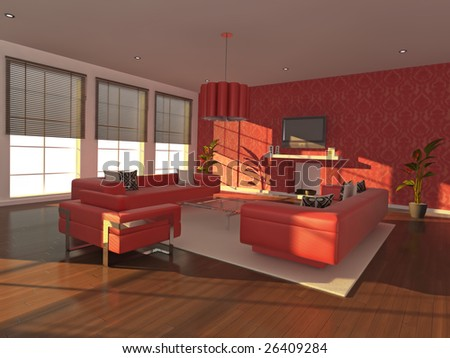 High quality illustration of a warm, modern interior in the early evening.