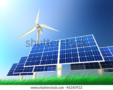 High quality illustration of solar panels and wind turbine standing in a beautiful grass field against clean blue sky