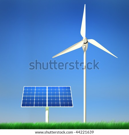 High quality image of solar panel and wind turbine standing in a grass field against clean blue sky with clipping path