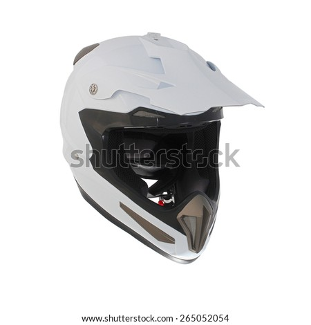 High quality light white motocross motorcycle helmet Isolated on white background - stock photo