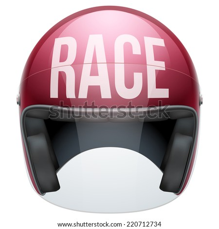 High quality motorcycle helmet with lettering Race in front. Illustration isolated on white background. - stock photo