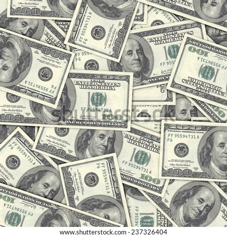 High Quality One Hundred Dollar Background, 3D Illustration - stock photo