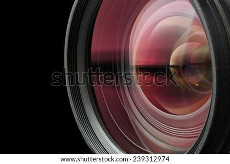 High-quality photographic lens close photographed.