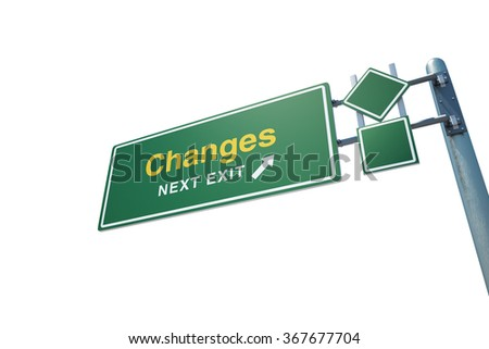 "High quality render of a highway "" Changes"" road sign isolated on white background. Clipping path included to use in designs easily. - stock photo"