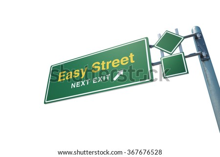 "High quality render of a highway "" Easy Street "" road sign isolated on white background. Clipping path included to use in designs easily. - stock photo"