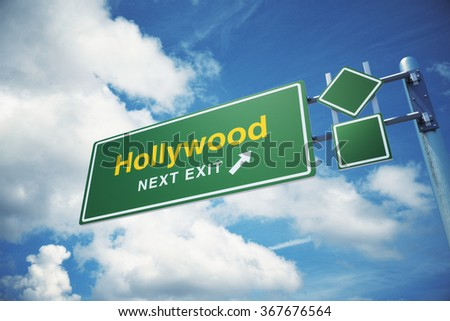 "High quality render of  a highway "" Hollywood ""  road sign isolated on white background. Clipping path included to use in designs easily. - stock photo"