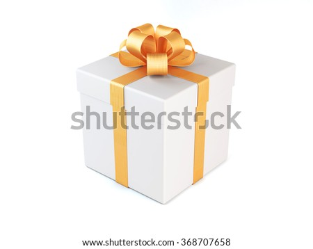 High quality render of a white gift box tied with a gold satin ribbon. There is a gold bow tie on it. Isolated on white background. Clipping path is included. - stock photo