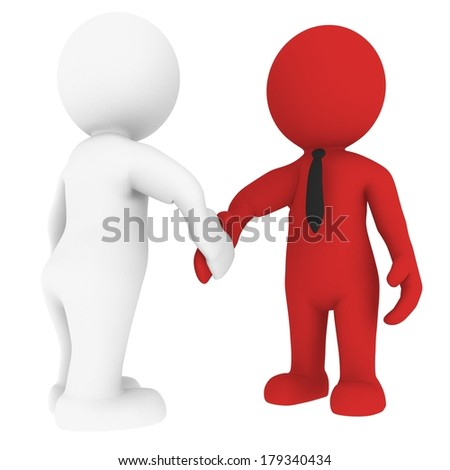 High quality rendered figure shows handshake