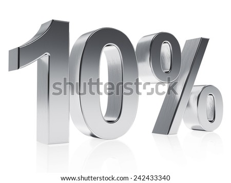 High quality rendering of a symbol for 10% discount or gain with a subtle reflection. The rendering has even scratches for realism.