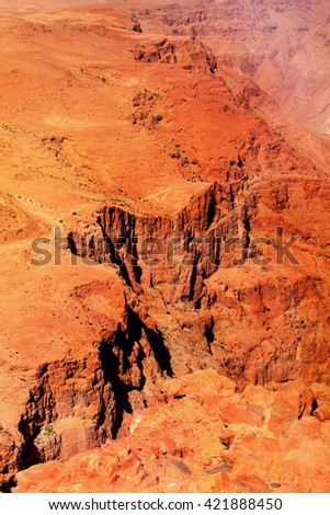 High red, orange mountains in desert, evening, Israel - stock photo