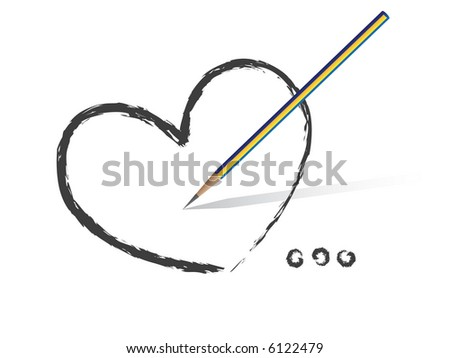 High Res Jpeg - Heart shaped symbol formed by a pencil in grey. Concept: Romance