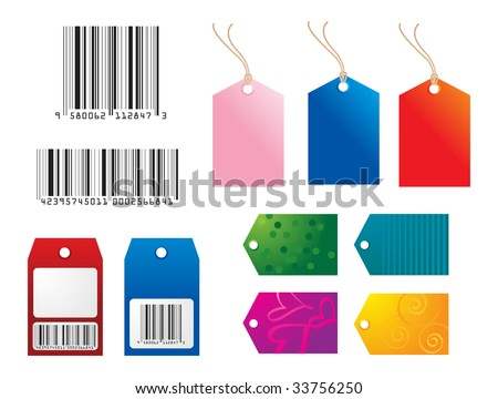high res JPG of bar codes, gift, and shopping tags