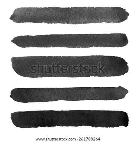 High resolution abstract black watercolor lines for your project - stock photo