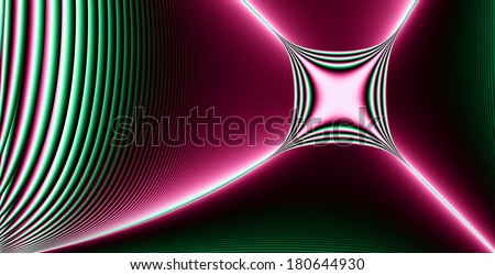 High resolution abstract fractal star (cross) background with a detailed descending wavy pattern and a glowing square-like star (cross) in pink and green colors