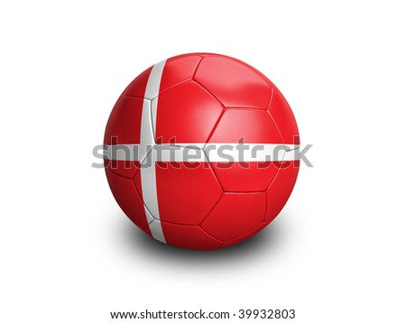 High resolution and highly detailed 3D rendering of a denmarkish soccerball. With clipping path removes the soft shadow. This country qualified for the 2010 soccer world cup in South Africa. - stock photo