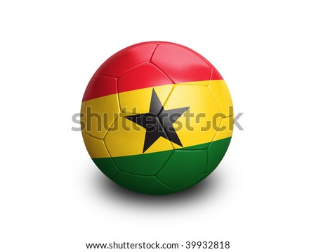 High resolution and highly detailed 3D rendering of a ghanaian soccerball. With clipping path removes the soft shadow. This country qualified for the 2010 soccer world cup in South Africa. - stock photo