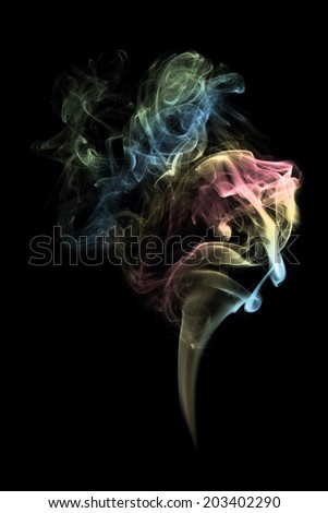 High resolution beautiful color smoke on black background