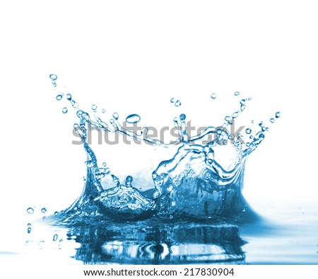 High resolution, beautiful splash of fresh, blue water. Isolated on white background