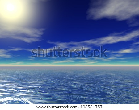 High resolution blue sea water with a blue sky background