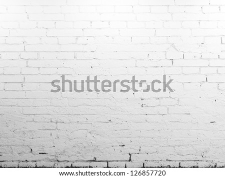 High resolution brick white wall - stock photo