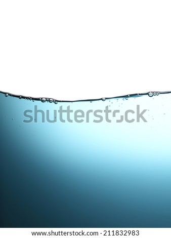 High resolution, bubbles in clean drinking water. Beautiful blue background.
