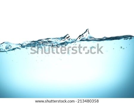 High resolution, bubbles in clean drinking water. Beautiful blue background. - stock photo