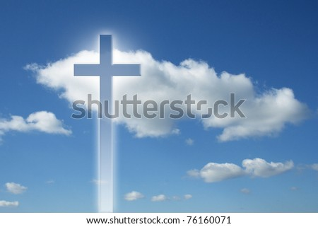 High resolution Christian cross over a beautiful sky