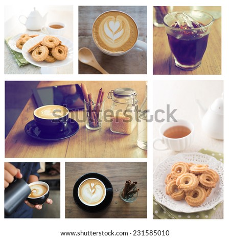 high resolution Coffee Collage on white background vintage color tone - stock photo