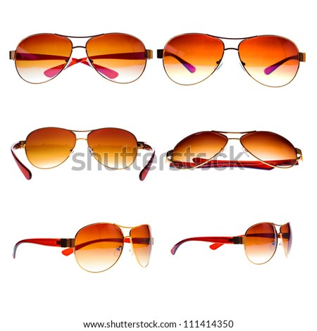 High resolution collection of metal framed vintage aviator sunglasses isolated on white - stock photo