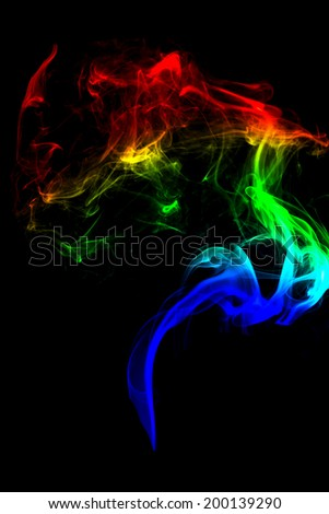 High resolution colored smoke isolated on black background