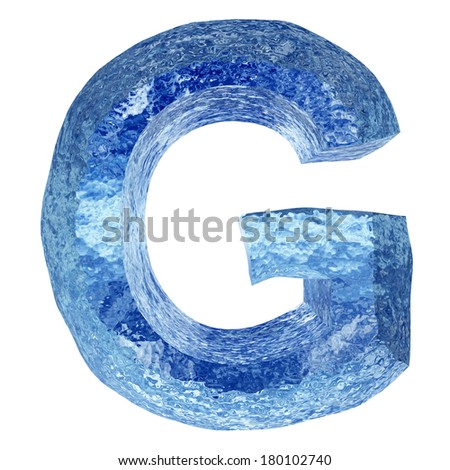 High resolution concept conceptual 3D blue water or ice font part of collection isolated on white background,metaphor to summer, spring or winter, fresh, frost, liquid, Christmas,ecology,drink or cool