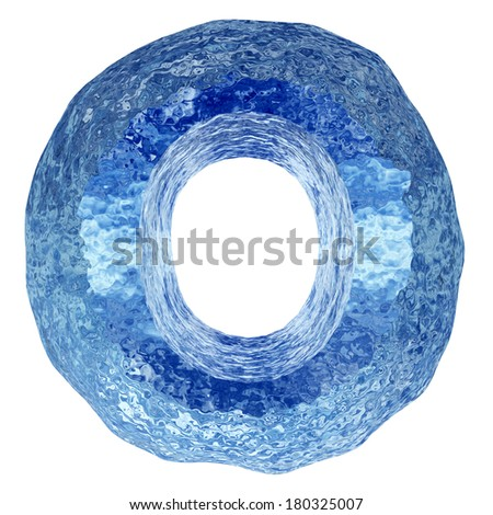 High resolution concept conceptual 3D blue water or ice font part of collection isolated on white background,metaphor to summer,spring or winter,fresh, frost, liquid, Christmas, ecology, drink or cool