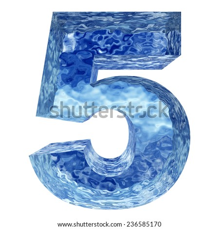 High resolution concept conceptual 3D blue water or ice 5 font part of collection isolated on white background,metaphor to winter, fresh, frost, liquid, Christmas, eco, ecology, drink or cool - stock photo
