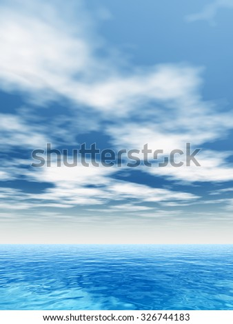 High resolution concept conceptual sea or ocean water waves and sky cloudscape exotic or paradise background metaphor to nature, peace, summer, travel, tropical, tourism, environment, vacation holiday