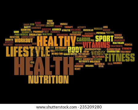 High resolution concept or conceptual abstract health word cloud or wordcloud isolated on background - stock photo