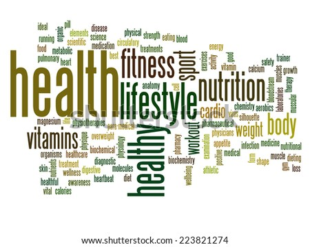 High resolution concept or conceptual abstract health word cloud or wordcloud on white background - stock photo