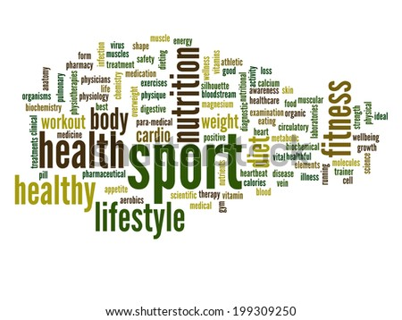 High resolution concept or conceptual abstract sport and health word cloud or wordcloud on white background - stock photo