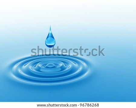 High resolution concept or conceptual blue liquid drop falling in water with ripples and waves - stock photo