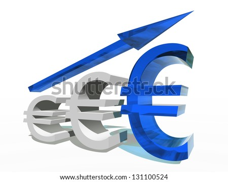 High resolution concept or conceptual 3D blue glass euro symbol with a arrow pointing up isolated on white background as a metaphor for business,finance,money,growth,success,stock,currency or economy - stock photo