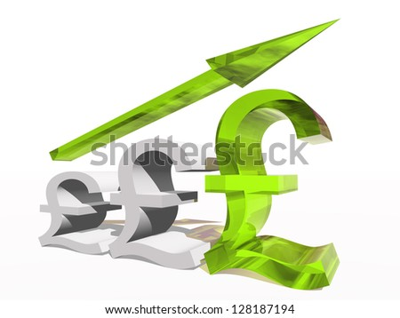 High resolution concept or conceptual 3D green glass pound symbol with a arrow pointing up isolated on white background as metaphor for business,finance,money,growth,success,stock,currency or economy - stock photo